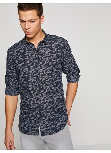 Kamuflaj Desenli Uzun Kollu Gömlek-Koton